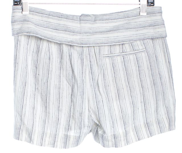 VINCE Ivory Navy Blue Striped Short Foldover Casual Shorts
