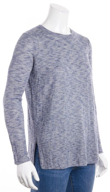 VINCE Blue Marble Knit Top