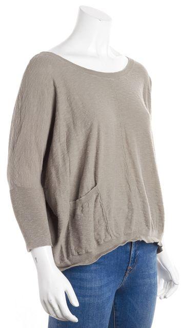 VINCE Gray Pocket Detailed Crewneck Sweater