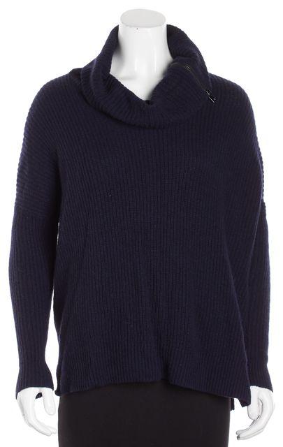VINCE Navy Blue Silver Wool Zipper Detailed Turtleneck Sweater