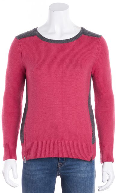 VINCE Pink Gray Colorblock Long Sleeve Crewneck Sweater