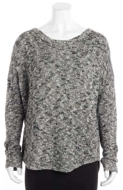 VINCE Gray Marbeled Linen Crewneck Sweater