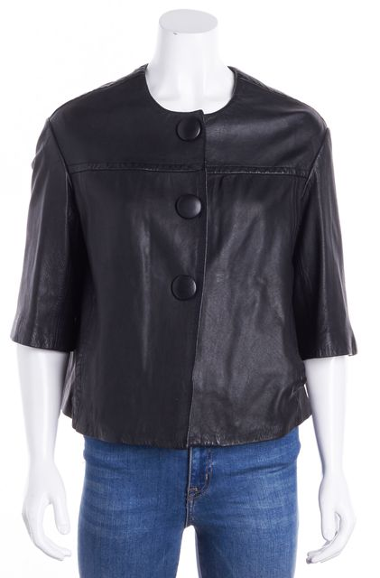 VINCE Black Leather 3 Oversize Button Basic Jacket