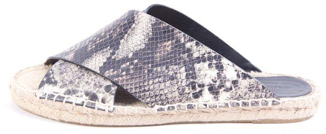 VINCE Black Criss Cross Python Leather Slip-on Sandals