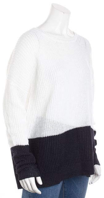 VINCE Ivory/Black Colorblock Long Sleeve Crewneck Sweater