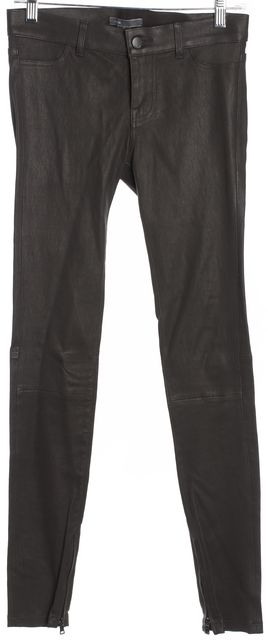 VINCE Dark Brown Button Front Zip At Ankle Structured Panel Leather Pants