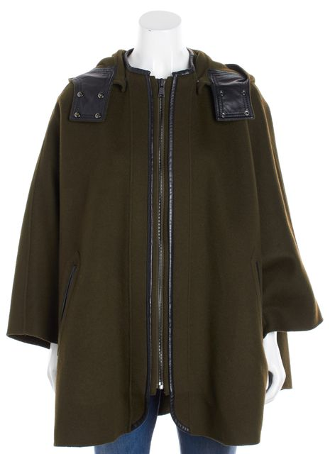 VINCE Green Cape Leather Trim Poncho