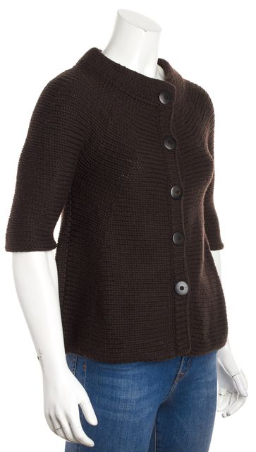 VINCE Brown Chunky Knit Wool Short Sleeve Cardigan Sweater
