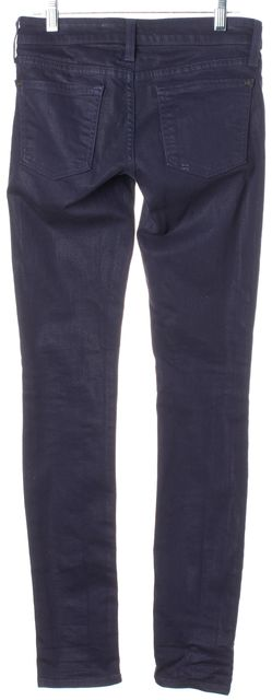 VINCE Blue Metallic Skinny Classic Rise Jeans