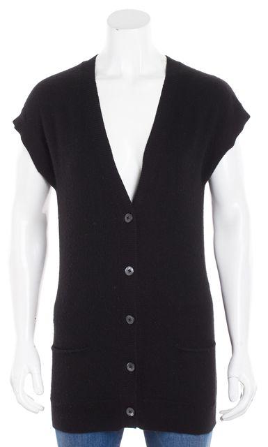 VINCE Black Cashmere Sleeveless Button V-Neck Cardigan