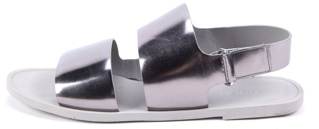 VINCE Silver Metallic Patent Leather Sandals