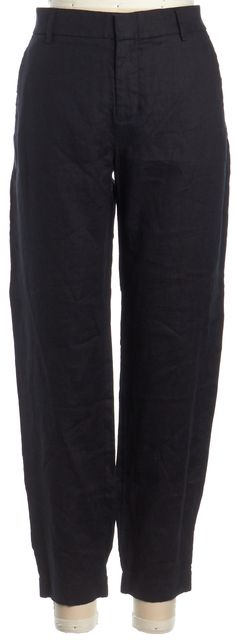 VINCE Black Linen Cropped Elastic Cuff Pants