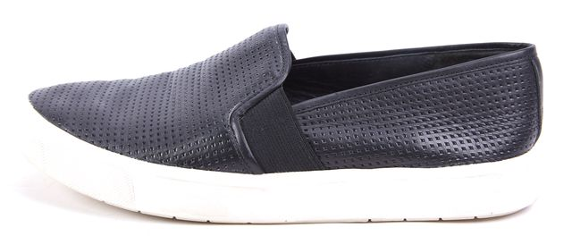 VINCE Black Textured Leather Slip-on Loafer Sneakers