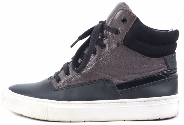 VINCE Black Brown Leather High-Top Sneakers