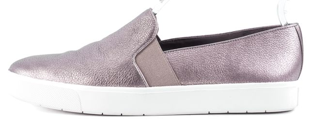 VINCE Rose Gold White Textured Leather Slip On Platform Sneakers