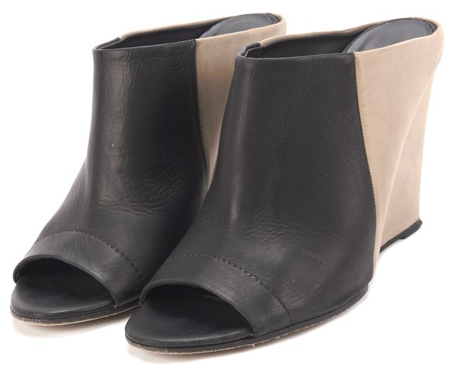VINCE Black Beige Leather Open Toe Mules