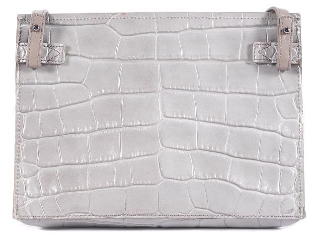 VINCE Gray Embossed Leather Crossbody Handbag