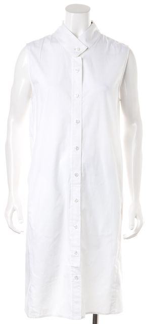 VEDA Solid White Sleeveless Zip Pocketed Cotton Shirt Dress