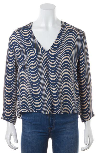 VEDA Blue Beige Wave Effect Print Crepe Silk V-Neck Top