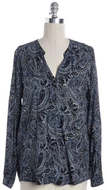 VELVET Blue Paisley Long Sleeve Blouse Top