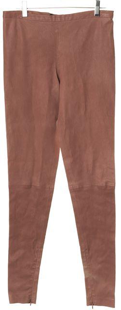 VICTORIA BECKHAM Blush Pink Leather Ankle Zip Super Skinny Leggings