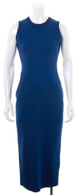 VICTORIA BECKHAM Blue Hand Stitch Crewneck Knit Bodycon Midi Dress