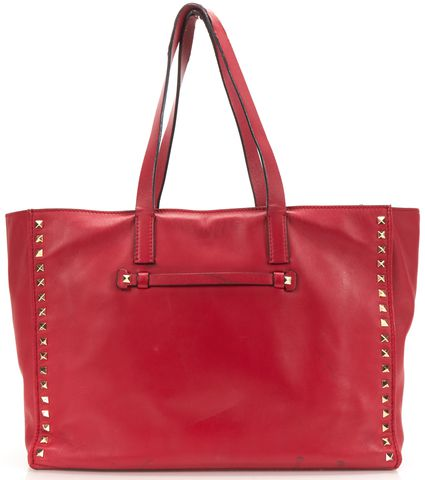 VALENTINO Authentic Red Leather Rockstud Studded Tote Handbag