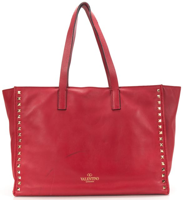 VALENTINO Red Leather Rockstud Studded Tote Handbag