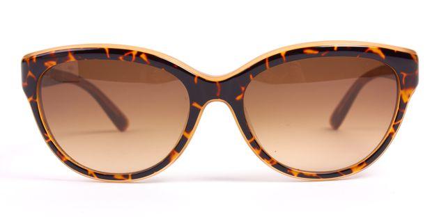 VALENTINO Brown Tortoiseshell Oval Acetate Frame Gradient Lens Sunglasses