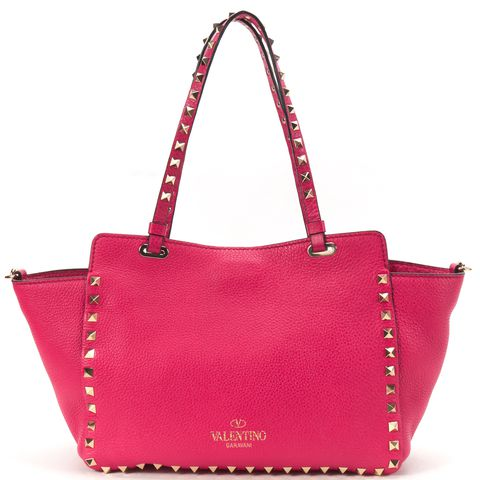 VALENTINO Pink Leather Studded Rockstud Trapeze Satchel Handbag