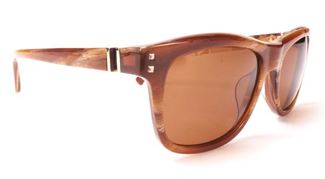 VALENTINO Brown Acetate Rectangular Rockstud Detail Gradient Lens Sunglasses