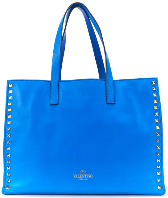 VALENTINO Blue Leather Rockstud Medium Shopping Tote Bag