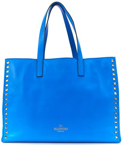 VALENTINO Blue Leather Rockstud Medium Shopping Tote Bag