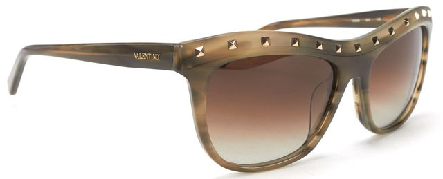 VALENTINO Olive Green Acetate Frame Gradient Lens Studded Sunglasses
