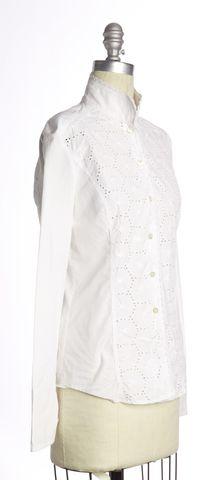 VALENTINO White Eyelet Cotton Button Down Shirt