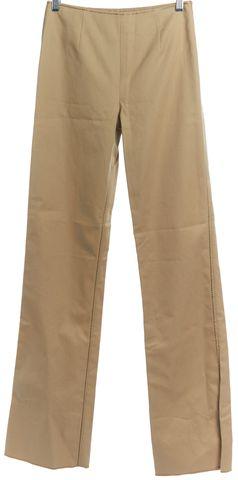 VALENTINO Beige Wide Leg Contrast Stitch Trousers Pants