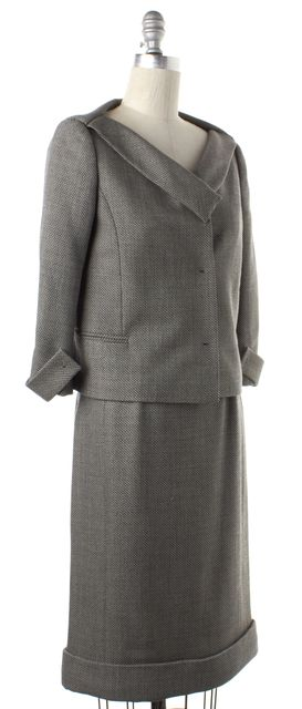 VALENTINO Gray Boatneck Blazer Skirt Suit Set