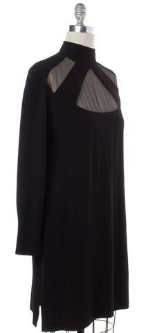 VALENTINO Black Sheer Trim Long Sleeve Shift Dress