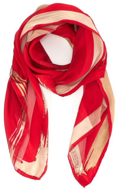 VALENTINO Red Ivory Silk Striped Graphic Floral Large Square Scarf
