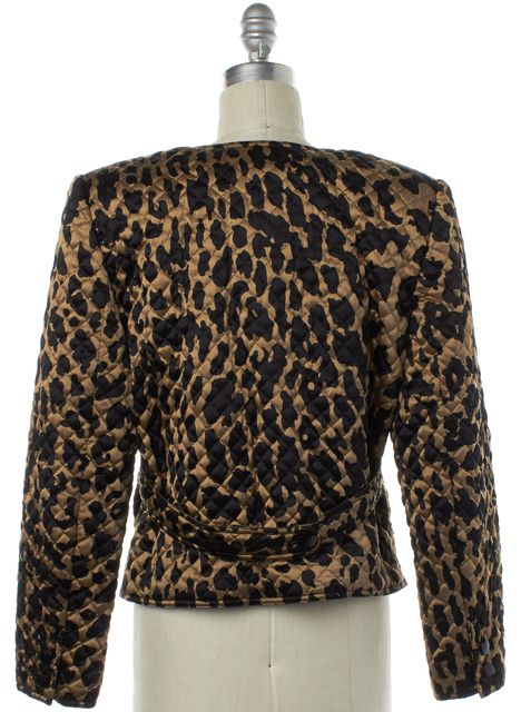 VALENTINO Brown Animal Print Quilted Silk Puffer Basic Jacket