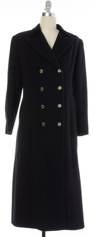 VALENTINO VINTAGE Black Wool Double Breasted Coat Size 10