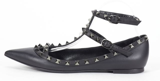 VALENTINO Black Leather Noir Rockstud Pointed Toe Caged Flats
