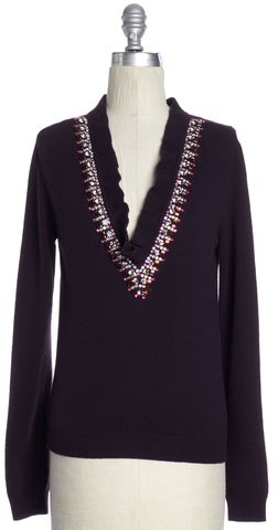 VALENTINO Purple Embellished Wool V-Neck Sweater