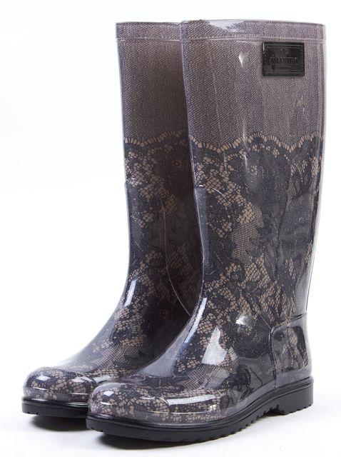 VALENTINO Gray Nude Casual Lace Print PVC Round-toe Md-Calf Rain Boots