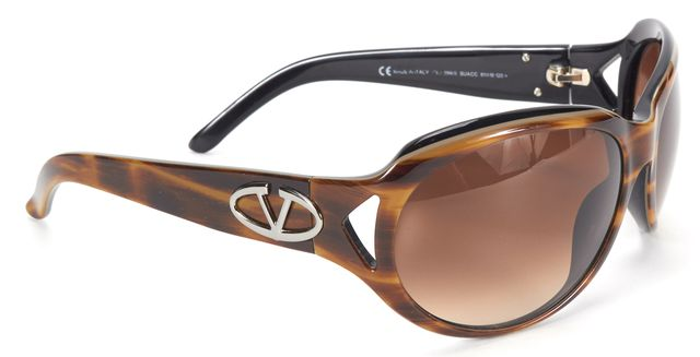 VALENTINO Brown Gradient Lens Tortoise Shell Acetate Oval Sunglasses