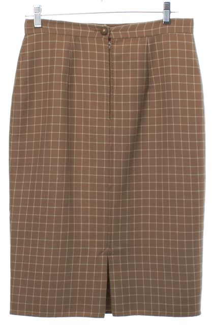 VALENTINO Beige White Check Straight Skirt