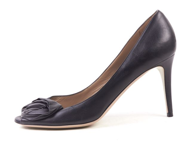 VALENTINO Black Leather Rose Embellished Open Toe Pumps