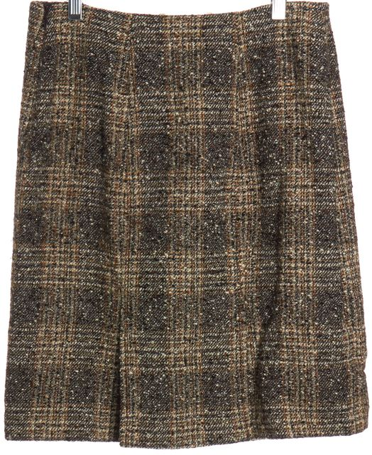 VALENTINO Brown Tweed Wool Straight Skirt