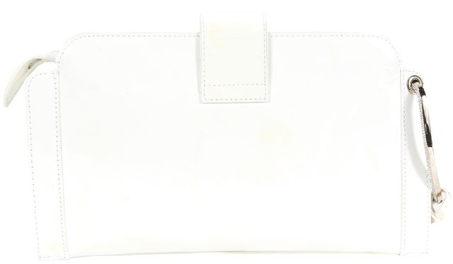 VALENTINO White Patent Leather Rhinestone Encrusted Logo Clutch Bag