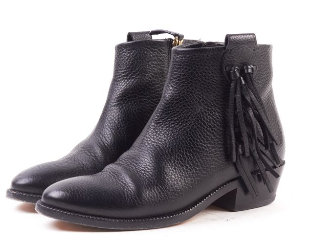 VALENTINO Black Pebbled Leather Fringe Ankle Bootie
